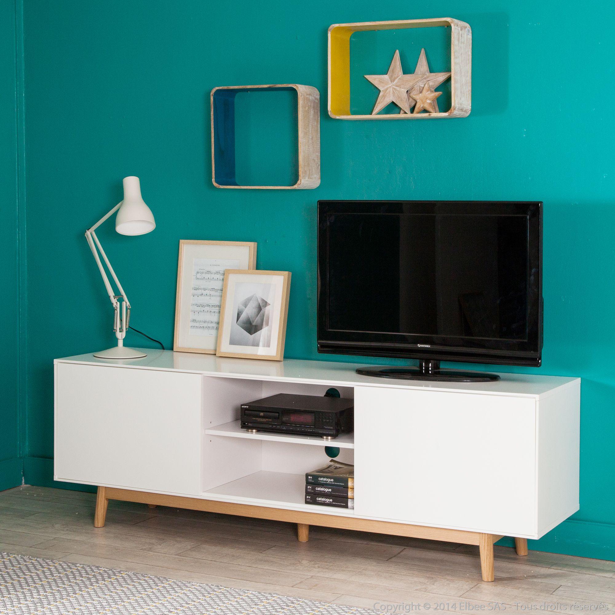Meuble Tv 2 Portes 2 Niches En Bois Laqu Blanc Pieds Ch Ne L180cm  # Meuble Laque Blanc Tele Petite Profondeur