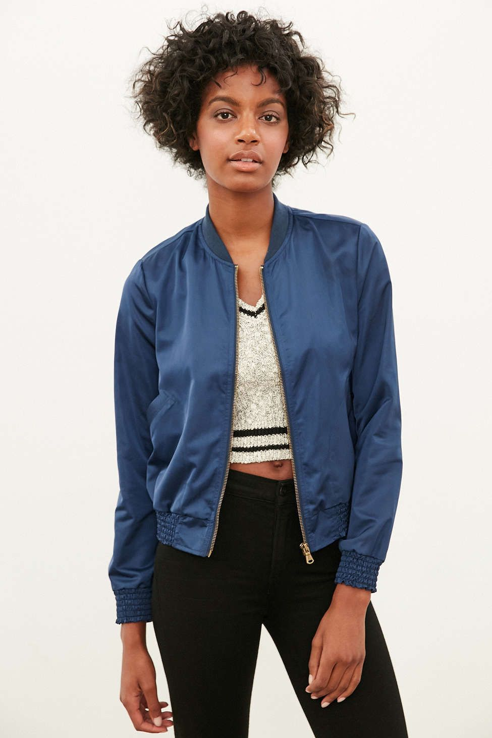 Silence + Noise Simple Satin Bomber Jacket - Urban Outfitters