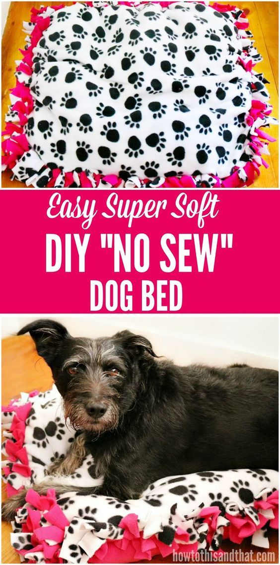 This DIY No Sew Dog Bed is so easy and soft, keeping your dog comfy ...