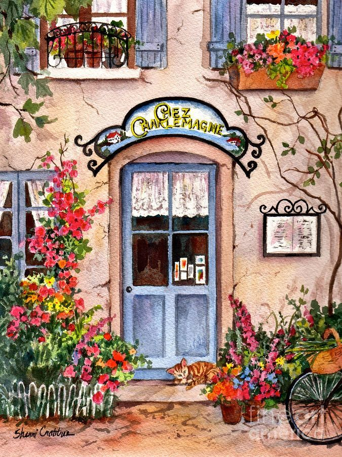 French Cafe Print By Sherri Crabtree Cafe Art French Art Art Painting