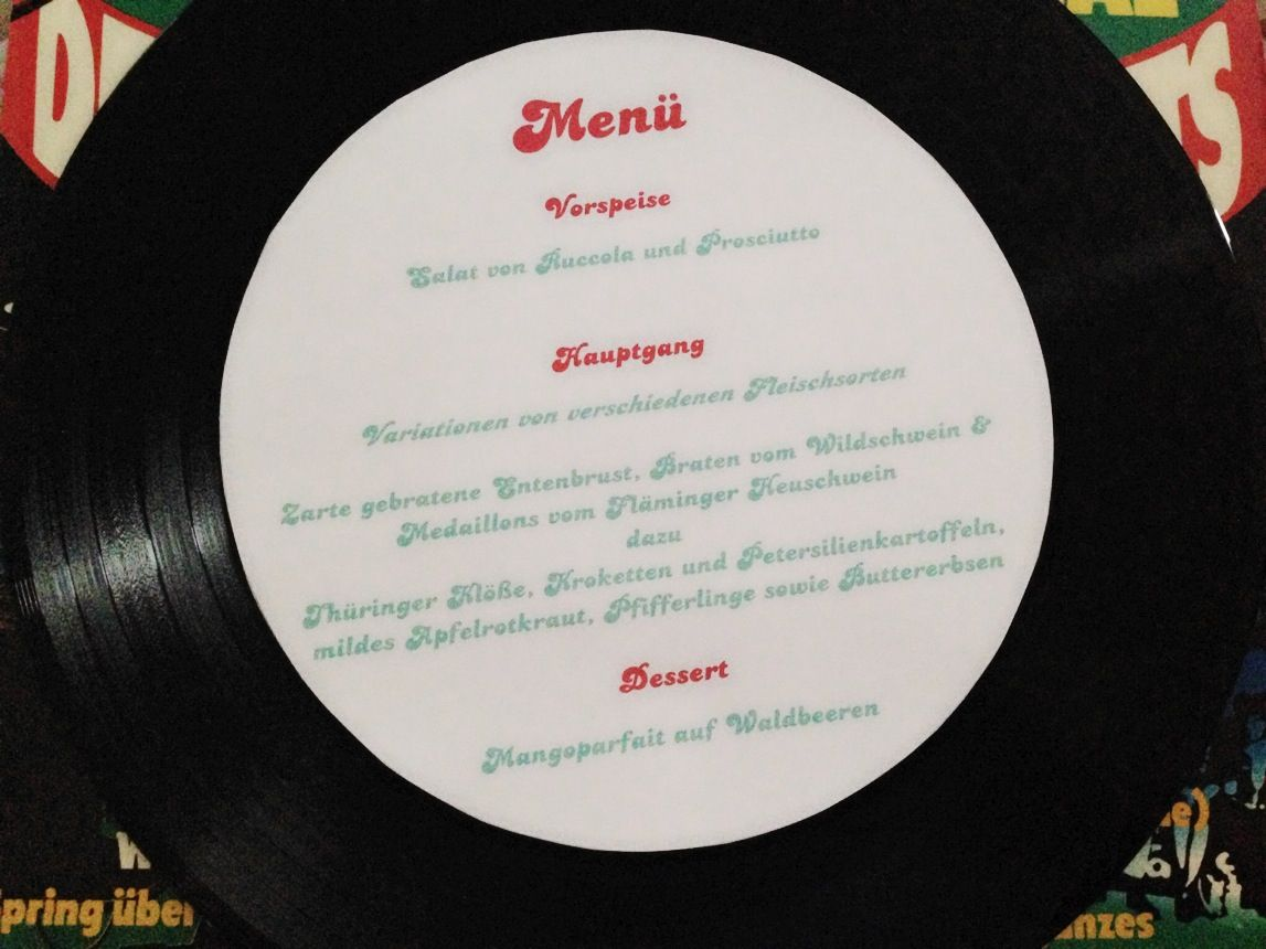 Menukarte Menu Card Hochzeit Wedding Vinyl Schallplatte Rock N Roll
