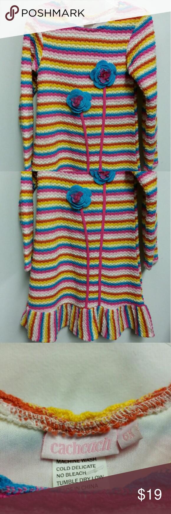 Cach cach designer girls flower sweater dress sz 6 Super cute! 3d flowers cach cach Dresses Casual