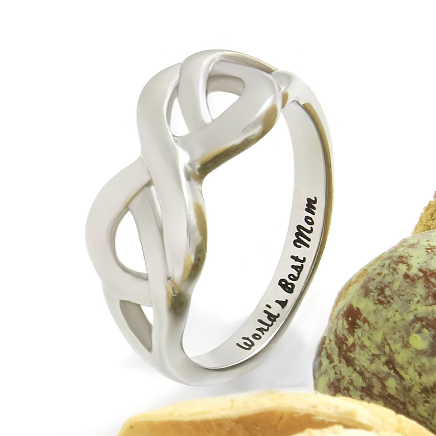 ring double with custom jewellery my infinity name engraved triple stones