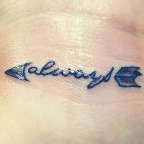 Pi Phi arrow tattoo- Always #piphi #pibetaphi    I want something like this...only with the creed inside