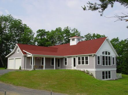 Red Roof With The Grey Painted Timber And White Accents Red Roof House Exterior House Colors Exterior Paint Colors For House