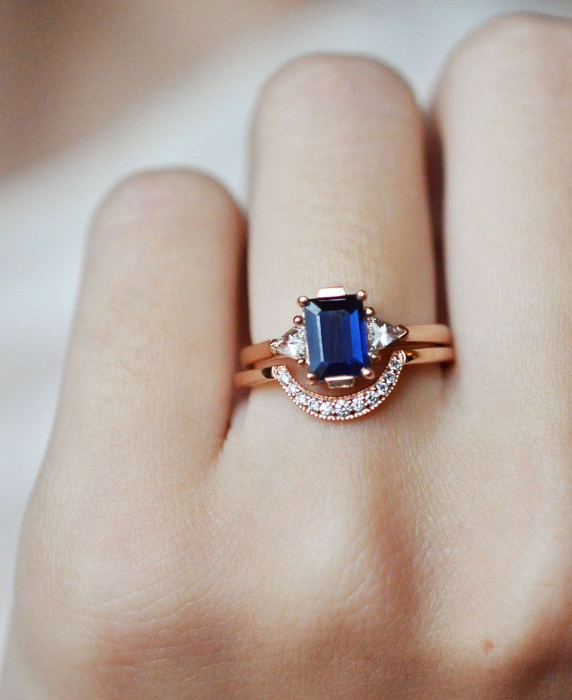 Anna Sheffield Blue Sapphire Bea Ring Rose Gold Crescent Band