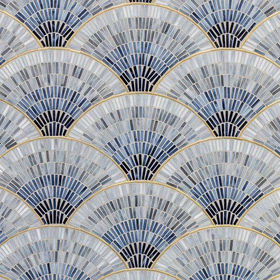 Fan Club Blue Ombre With Brass Gloss Glass Mosaic #artdecointerior