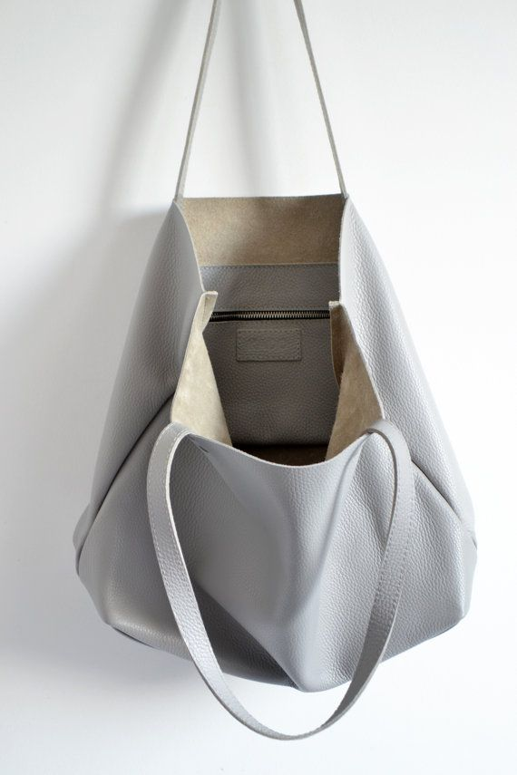 211e68d0c7362 GREY LEATHER TOTE Bag - Large Laptop Tote Bag Italian Pebbled ...