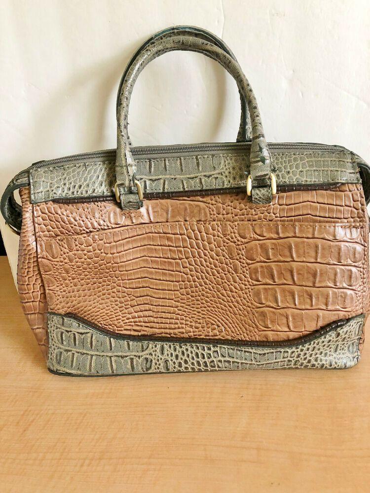 Bueno Handbag Shoulder Bag Faux Croc Alligator Embossed Leather