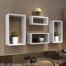 Set Of 4 Retro White Square Floating Mdf Cube Wall Storage Shelves Shelf Cubes Disenos De Repisas Repisas De Madera Flotantes Decoracion De Repisas