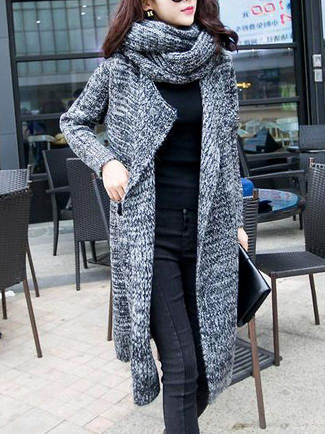 Lapel Patch Pocket Longline Coat With Scarf   Fashion   Pinterest ca80f8cd460