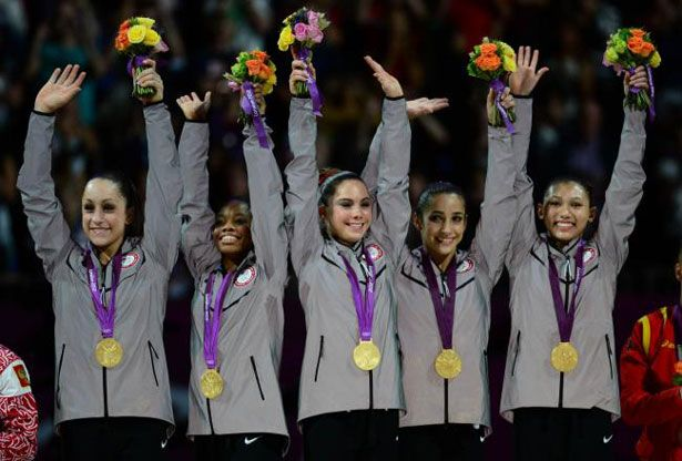 the Fab Five at the 2012 London Olympics standing for team USA! :) proudest moment for them taking home that gold medal