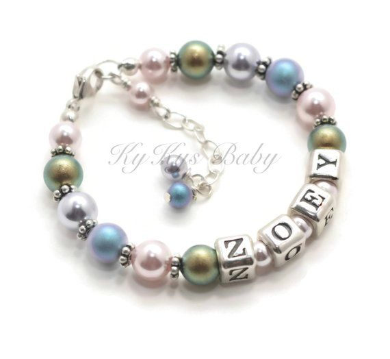 Toddler Jewelry Personalized S Bracelets Little Bracelet Free Gift Box Pearl Name Rainbow Baby For