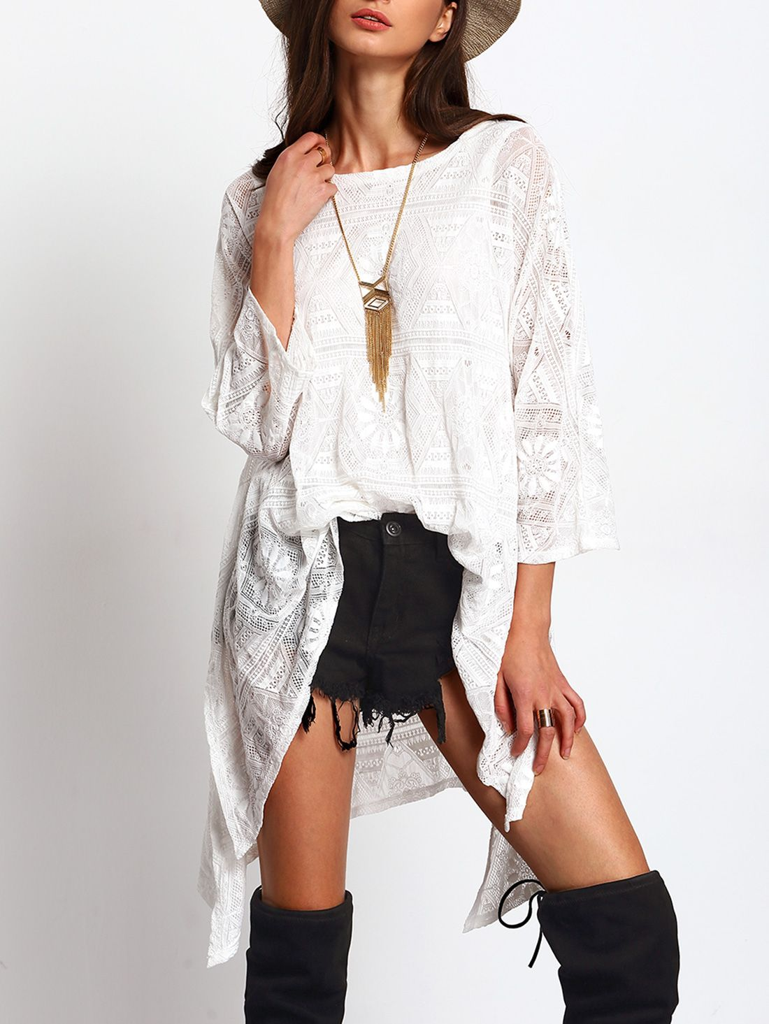 White sheer crochet lace high low blouse emmacloth women fast fashion online style bluse - Bluse hinten lang ...