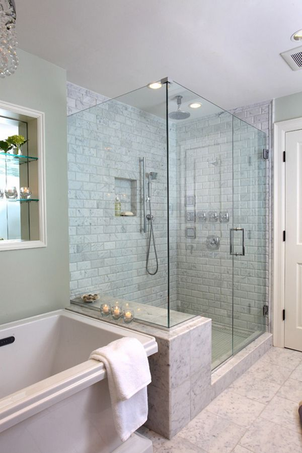 Create A Feeling Of Bathroom Space Floor To Ceiling Shower Tile Bathroom Remodel Master Small Master Bathroom Traditional Bathroom
