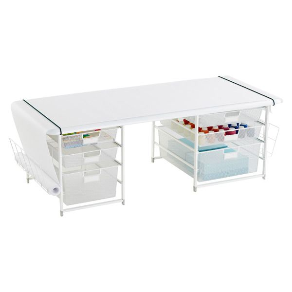 White Elfa Kids Mesh Coloring Table With Rounded Corners