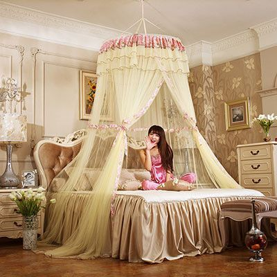 Bed Canopy Drapes fashion 5 colors princess bed canopy curtain netting hung dome