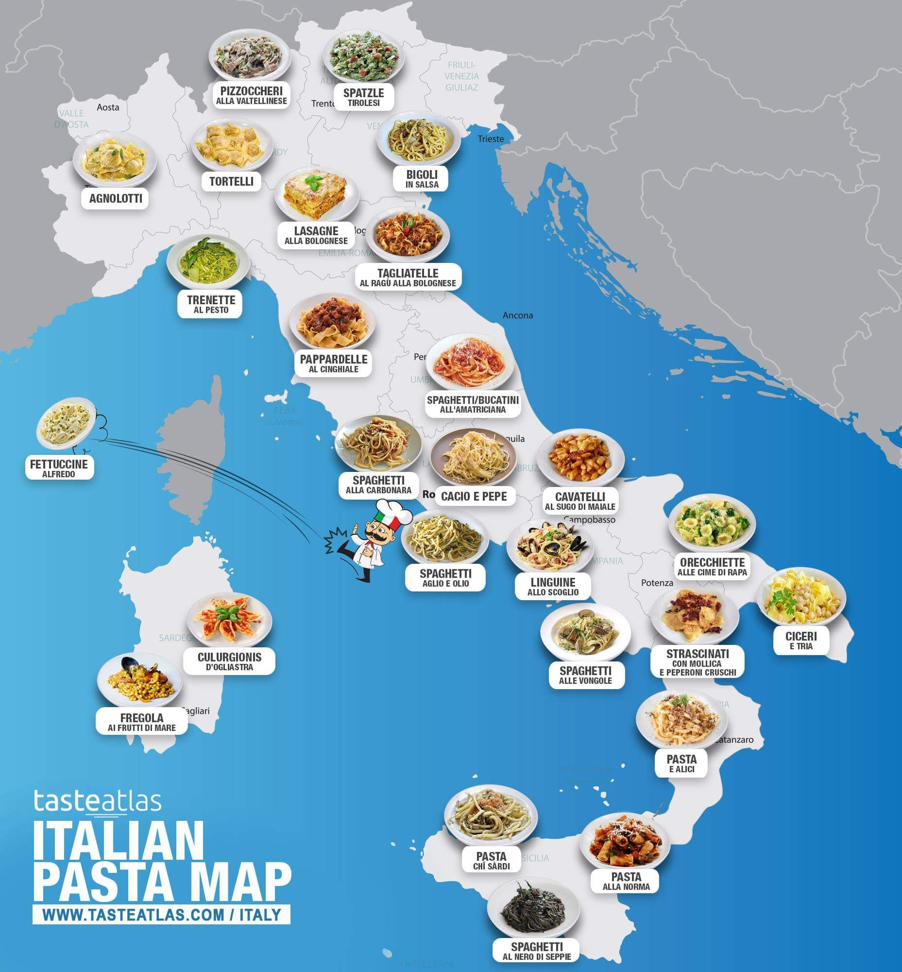 This Map Of Italy Shows Where All Your Favorite Pasta Dishes Are