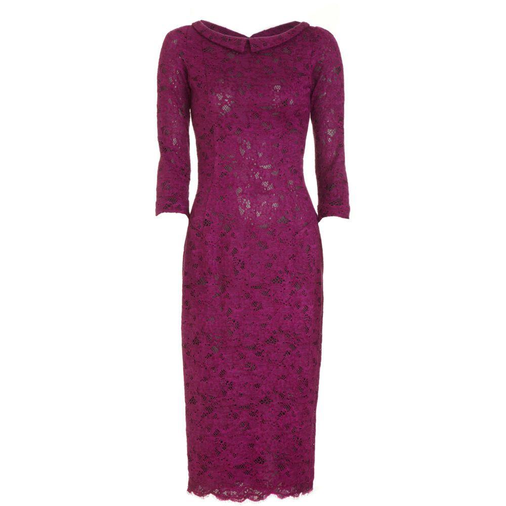 DRESS L\'Wren Scott Head Mistress Dress Winter lace dress w/ notched ...