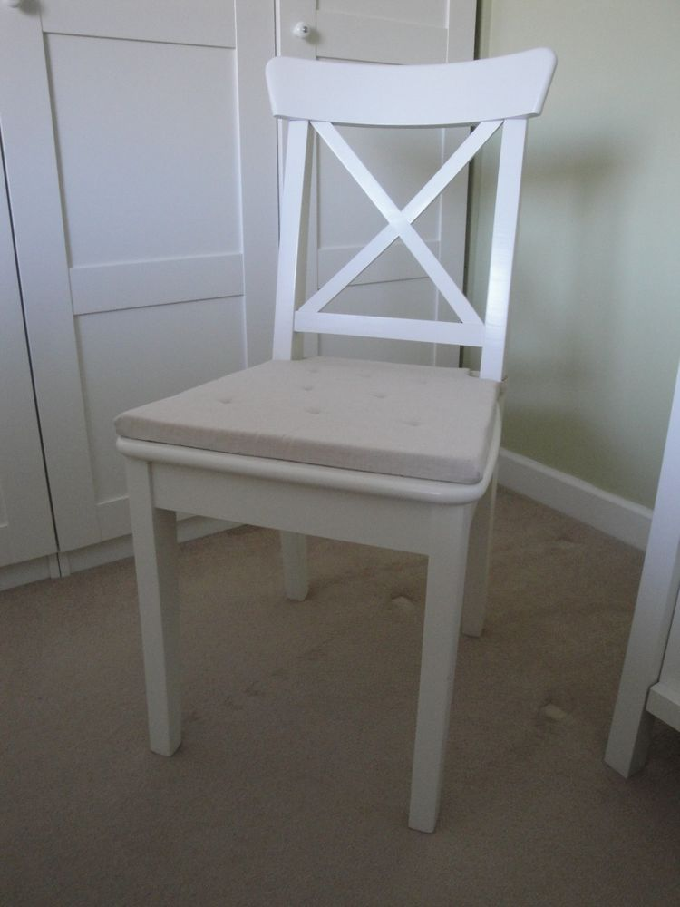 White Wooden Ikea Ingolf Dining Chair In Perfect Condition With Seat Cushion