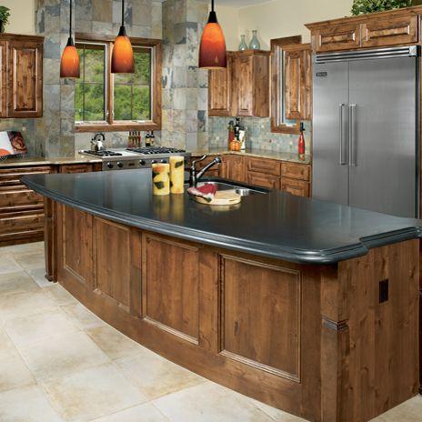 Indian Premium Black Honed Granite Countertop With Autumn Slate Floor And  Earth Tumbled Backsplash Via Arizonatile