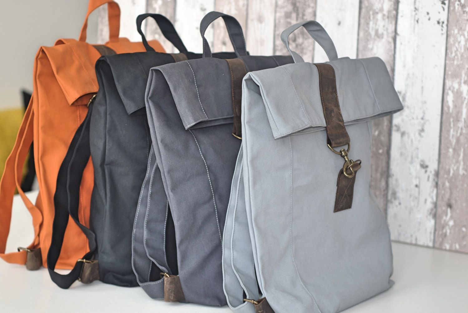 Der Die Das Rucksack Gray Canvas Backpack With Leather Unisex Mens Bag Women