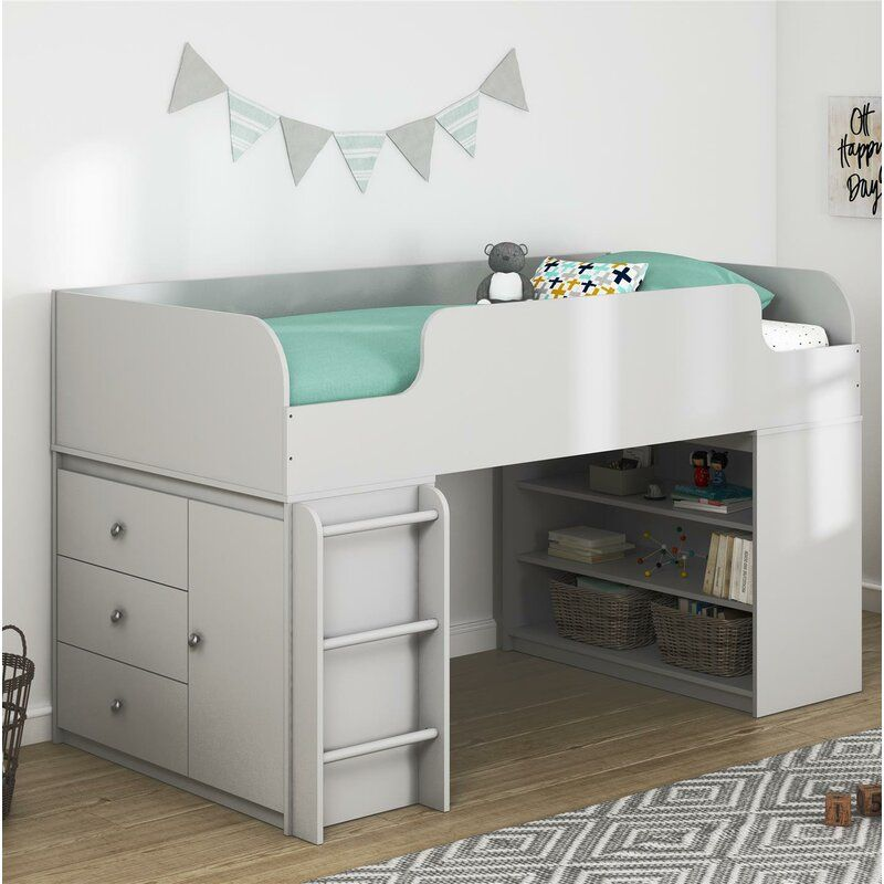 Amak Panel Twin Low Loft Bed With Drawers And Shelves Low Loft
