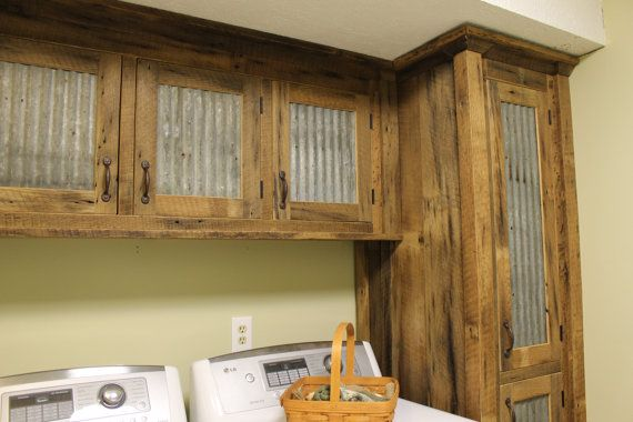 Custom rustic upper cabinet reclaimed barn wood w tin for Barn style kitchen cabinets