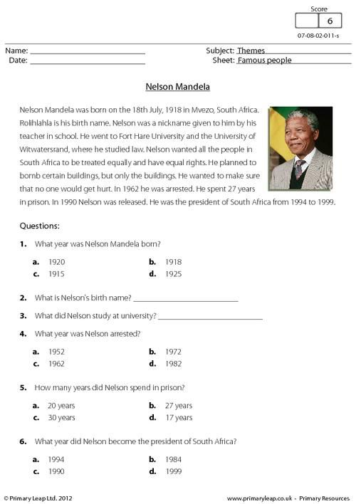 Famous people - This worksheet includes a short comprehension about ...