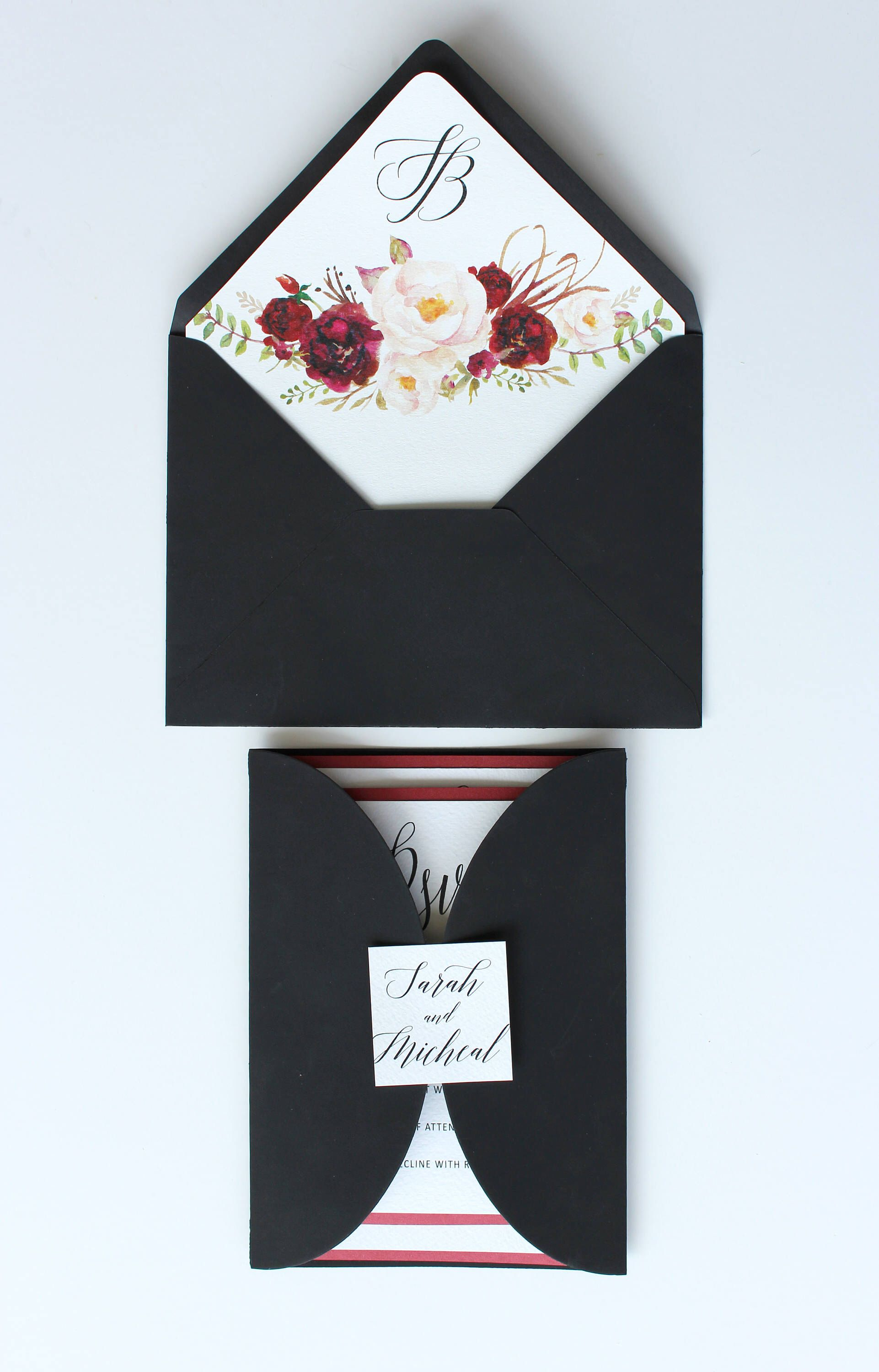 Marsala Black FLORAL WEDDING invitation Vellum translucent