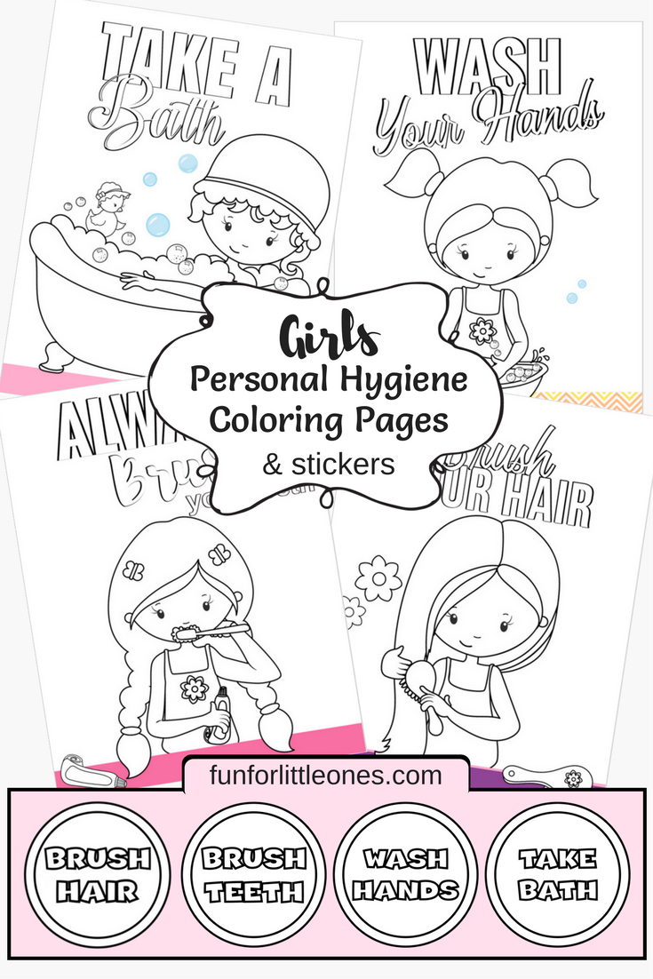 Girls Personal Hygiene Coloring Pages & Stickers (Free Download ...