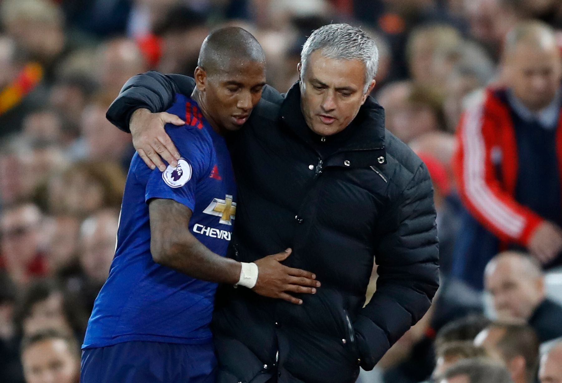 Manchester United manager Jose Mourinho with Ashley Young | Ashley young,  Manchester united, Manchester united premier league