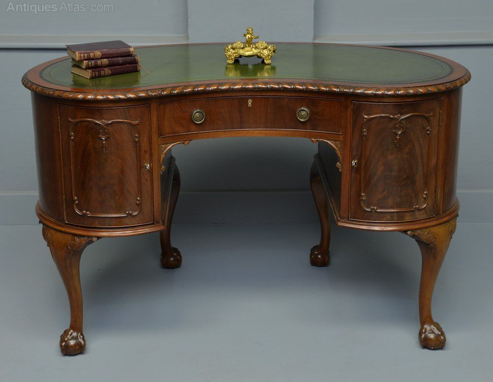 Early 20th Century Mahogany Kidney Shaped Desk In 2020 Antique