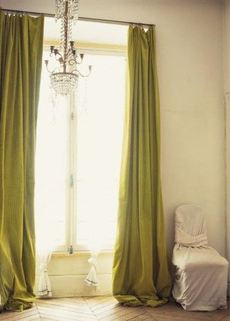 Chartreuse Drapes Hit The Amazing Herringbone Flooring In This Dramatic  Space.