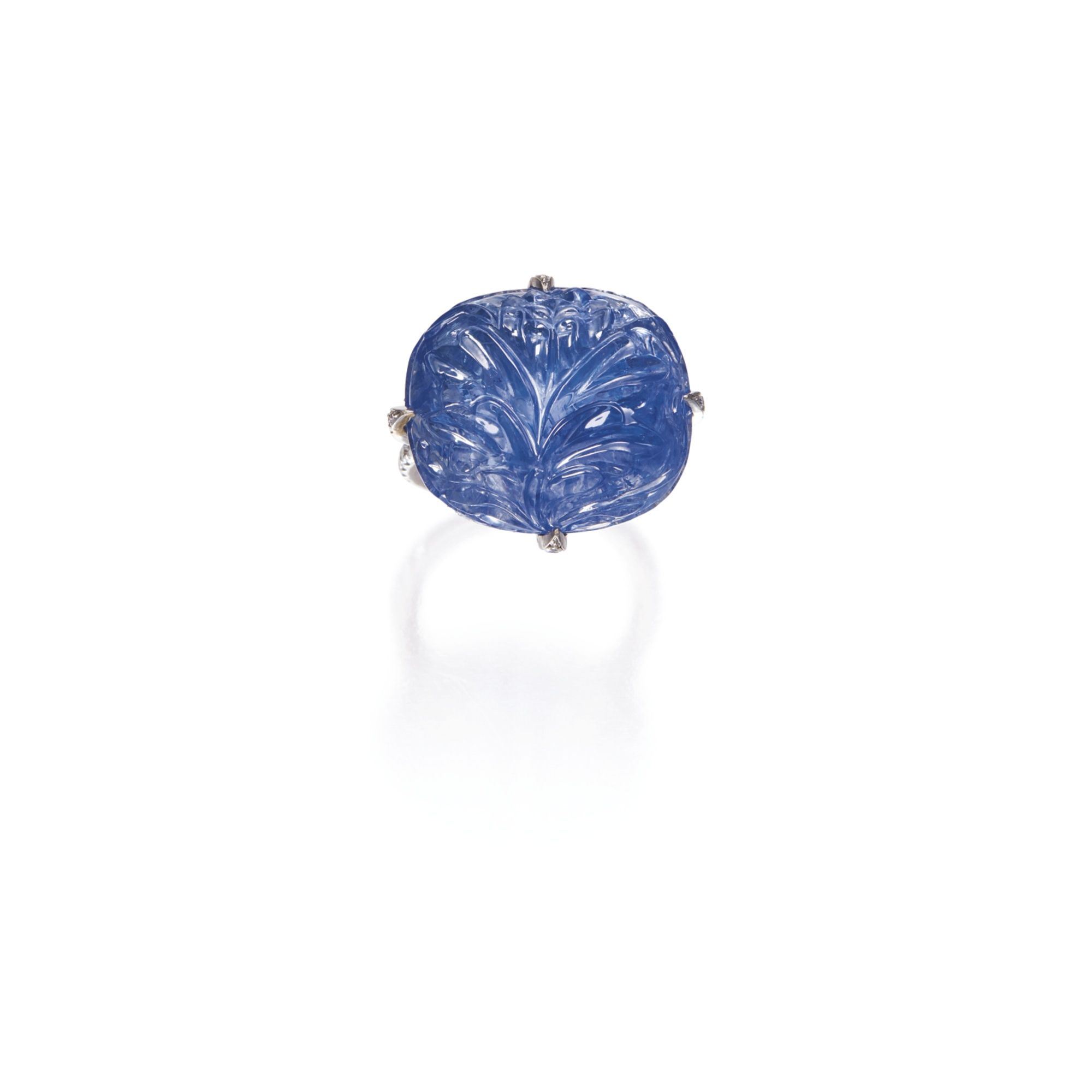 18 Karat White Gold, Carved Sapphire and Diamond Ring, Michele della Valle
