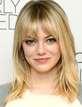 10 Shoulder Length Hairstyles We Love Fine Hair Bangs Emma Stone Hair Medium Length Hair With Bangs