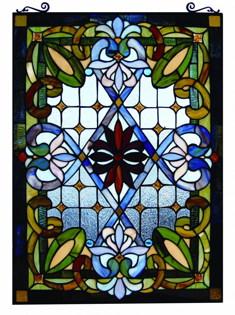 Tiffany style stained glass window panel colorful for Victorian window design