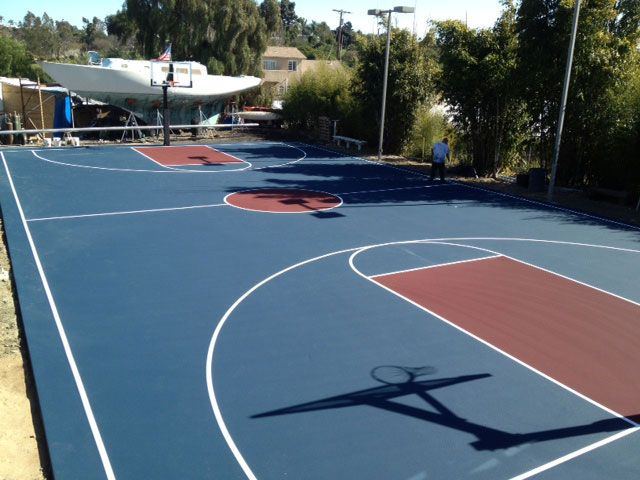 Blue And Red Combo Nice Outdoor Basketball Court Basketball Court Court