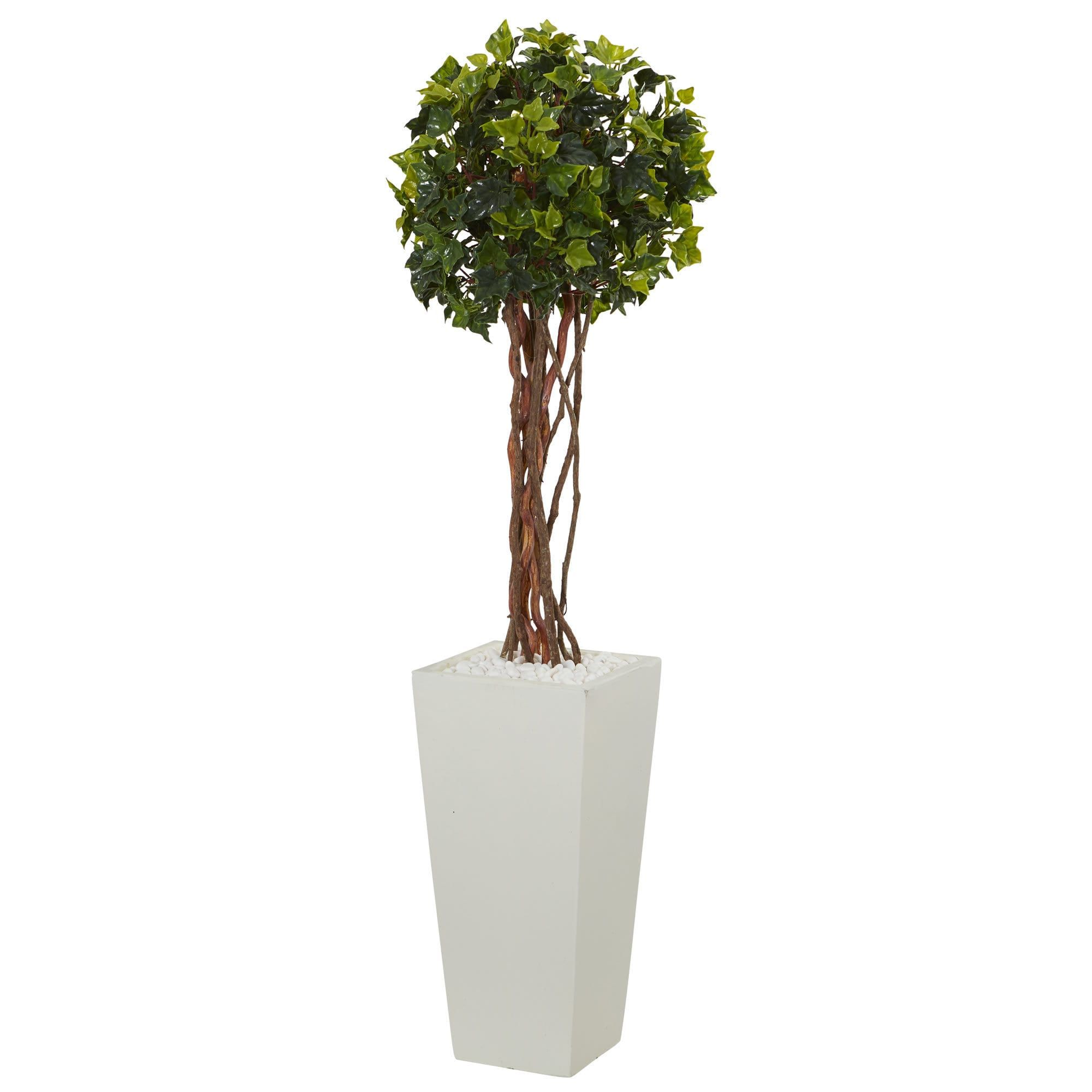 Nearly natural u english ivy artificial tree in white tower planter
