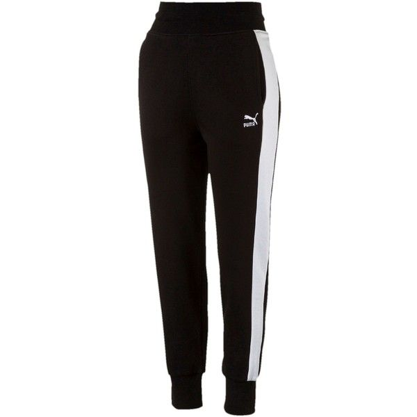 36c67e4c1 Puma Archive Logo T7 Sweatpants ($50) ❤ liked on Polyvore featuring  activewear, activewear pants, pants, bottoms, cotton black, puma  sportswear, ...