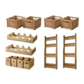 Superbe Wooden Oak Tall Larder U0026 Pantry U0026 Accessories Set