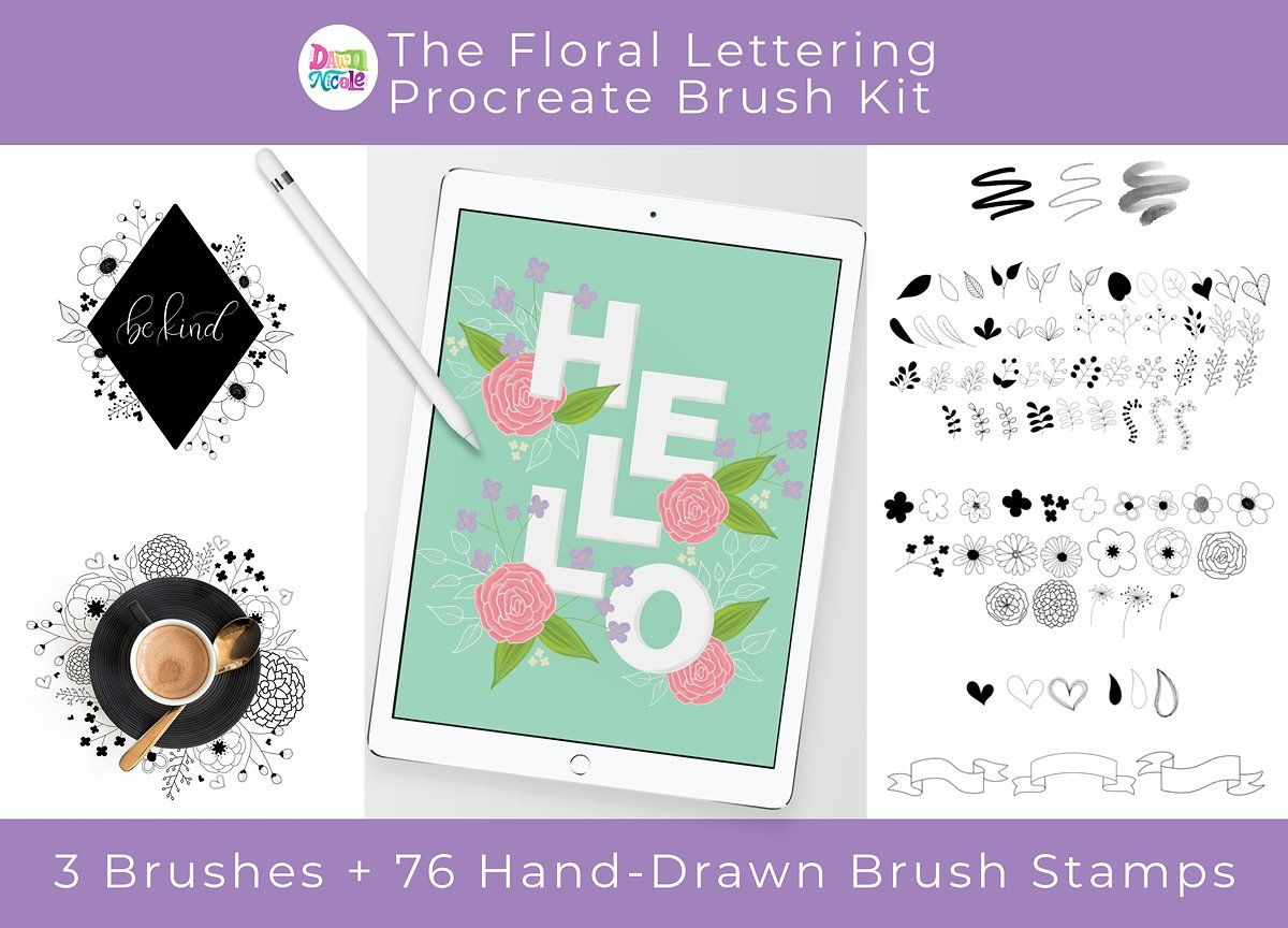 Floral Lettering Procreate Brush Kit