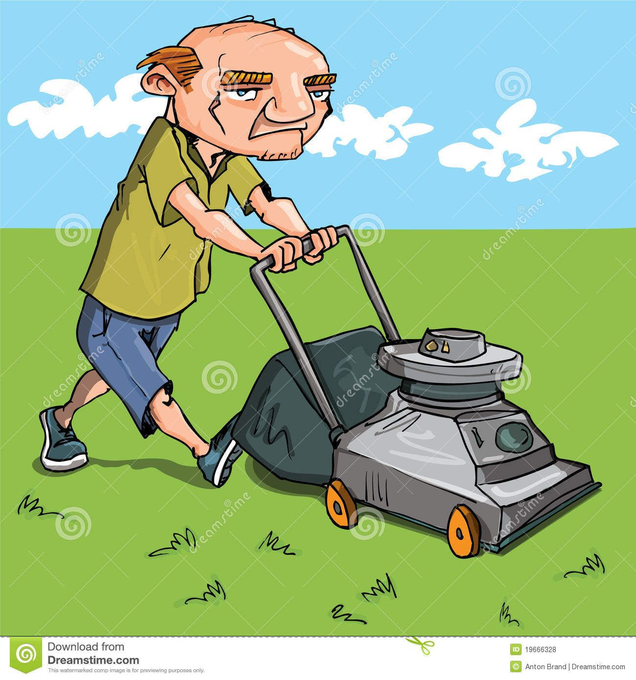 Cartoon Man Mowing His Lawn Grass And Blue Sky Behind Sponsored Advertisement Sponsored Man Blue Sky Mowing Cartoon Man Free Clip Art Cartoon