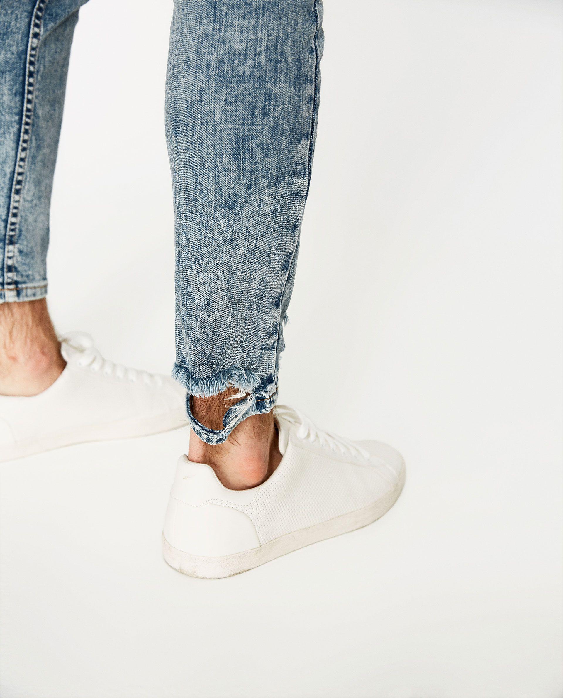 Imagen 6 De Denim Skinny Raw Edge De Zara Pantalones De Hombre Moda Moda Casual Hombre Jeans Hombre