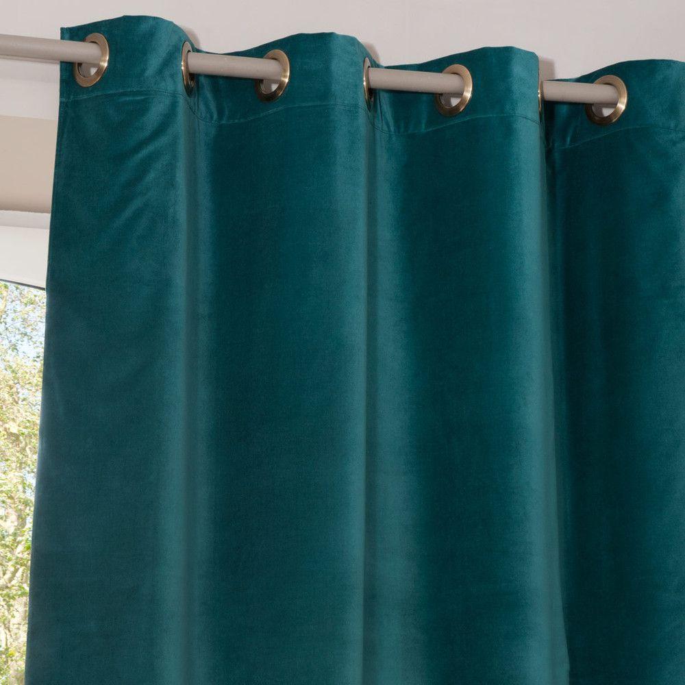 rideau illets en velours bleu canard 140x300 id es. Black Bedroom Furniture Sets. Home Design Ideas