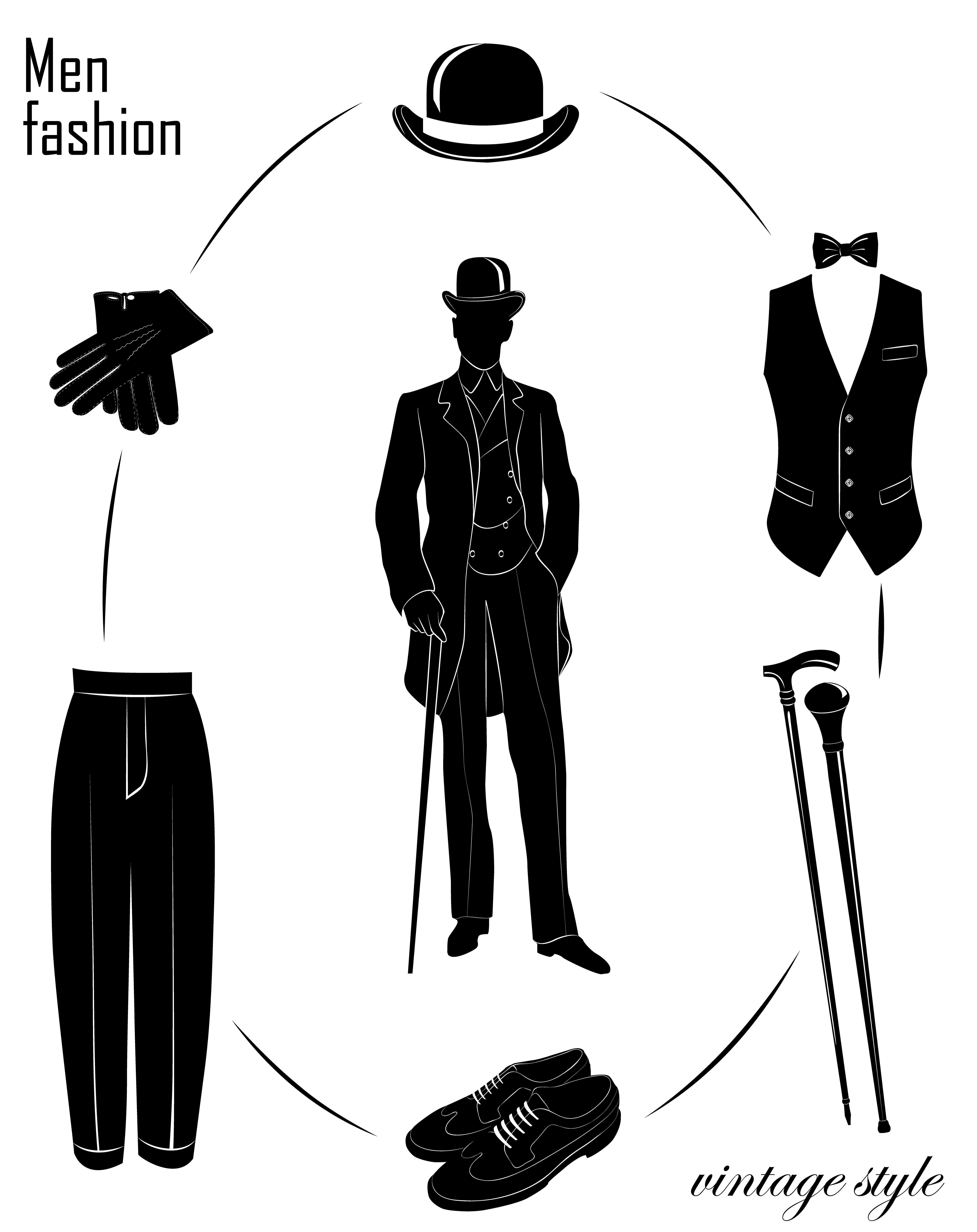 abe4c0ff18c Man`s fashion set. Gentleman  hat  bowler  derby  top hat  cylinder ...