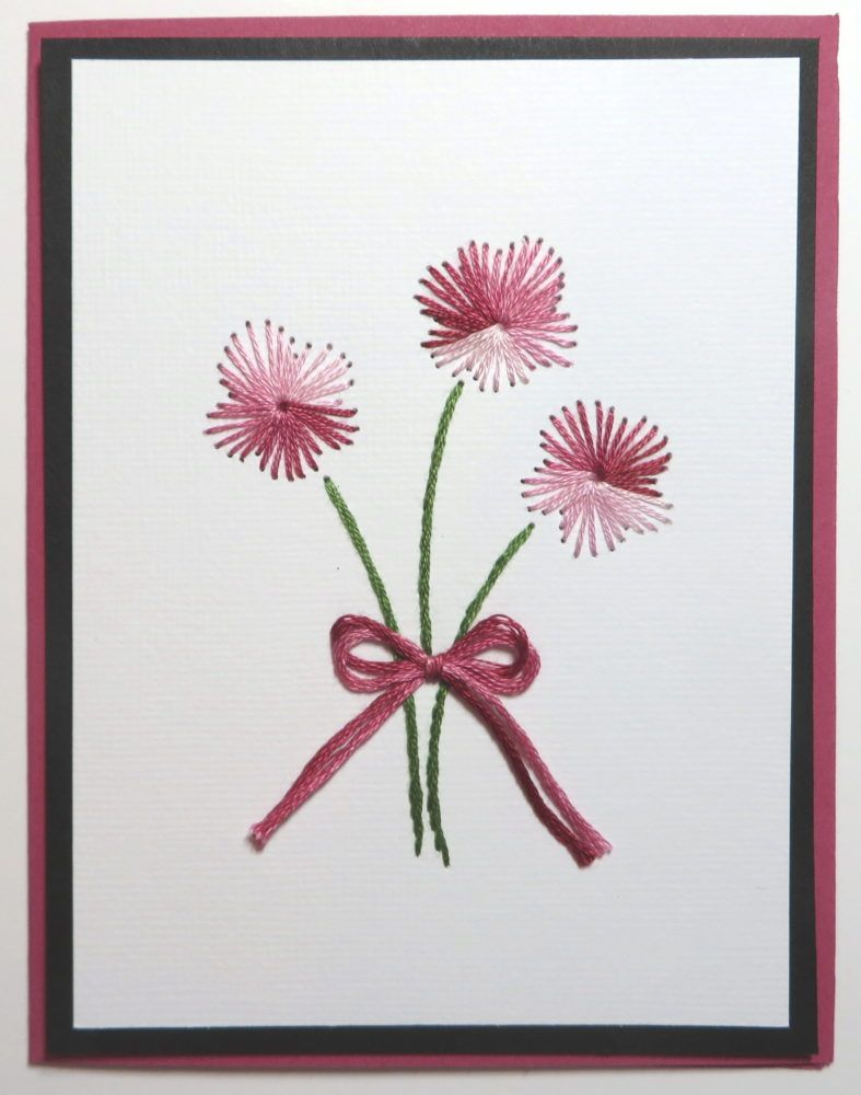 Embroidered Flowers On Cardstock Made Into Greeting Cards Embroidery Cards Paper Embroidery Embroidered Paper