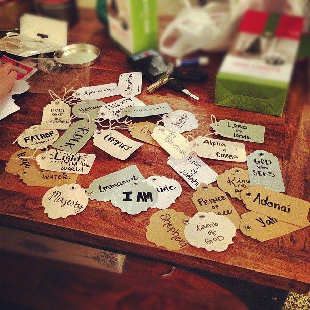 bethke homemade Christmas ornaments, the names of God