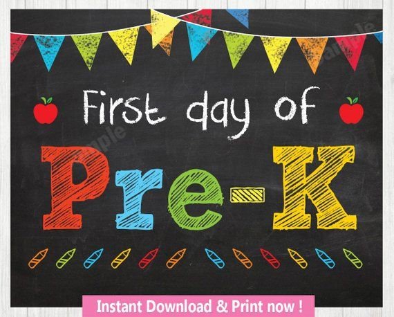 photo relating to First Day of Pre K Sign Printable referred to as Very first Working day of Pre-K Signal, Initial Working day of College Signal, Initial Working day