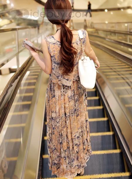 2012 Nuevo Estilo Corea Vestido de Chifón Pintado con Flores